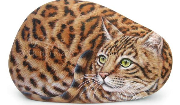 Bengal Cat Painted On A Rock