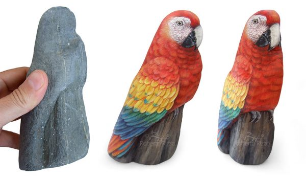 Lifelike Red Macaw Hand Painted On A Sea Rock