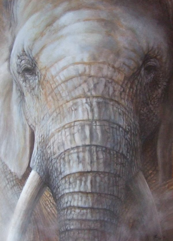 Realistic elephant painting on canvas wildlife art by Roberto Rizzo