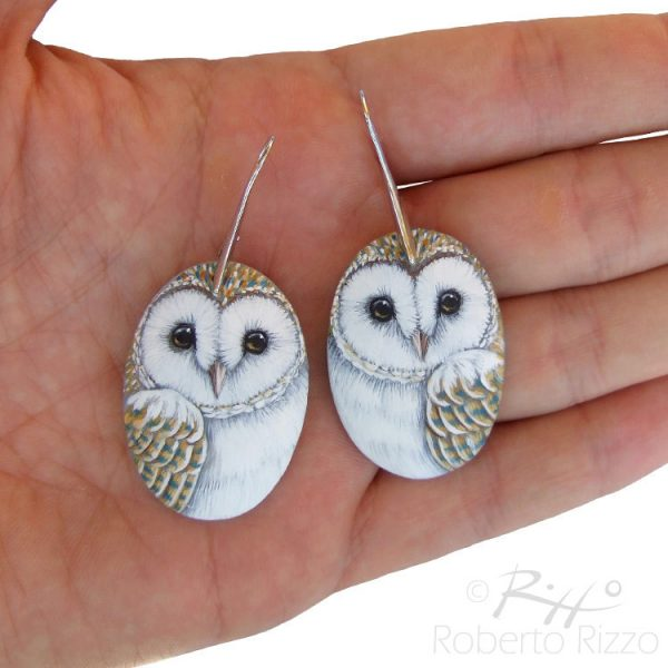 Hand painted barn owl earrings