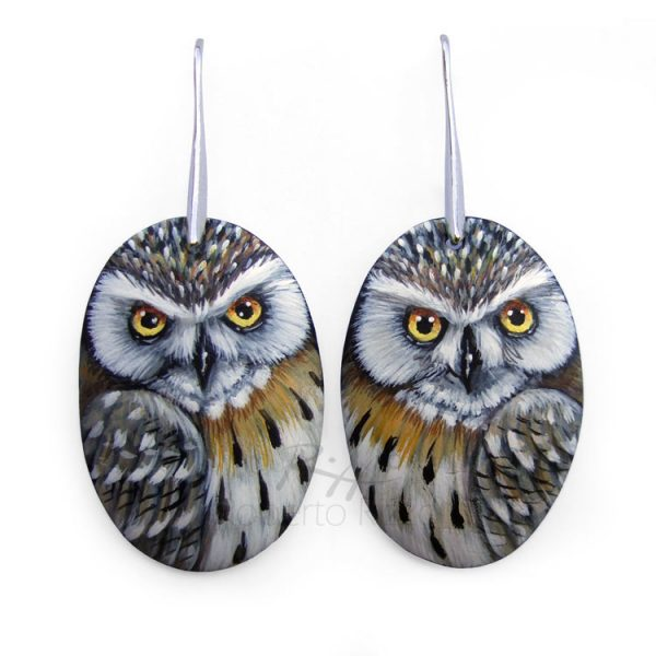 Eagle owl earrings painted on bone by Roberto Rizzo