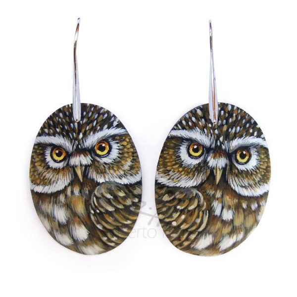 Little owl earrings completely handmade