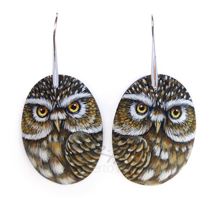 Little owl earrings completely handmade