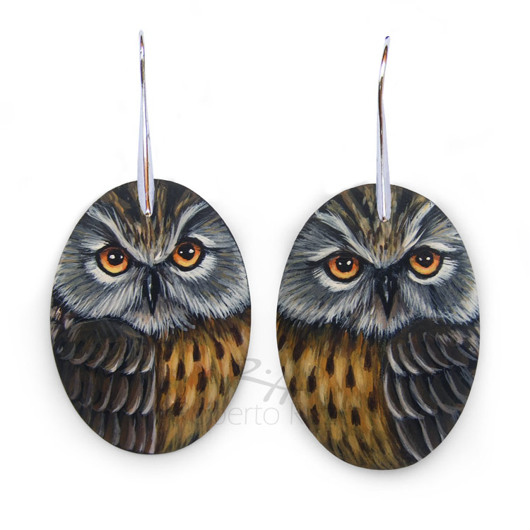 Original handmade long-eared owl earrings