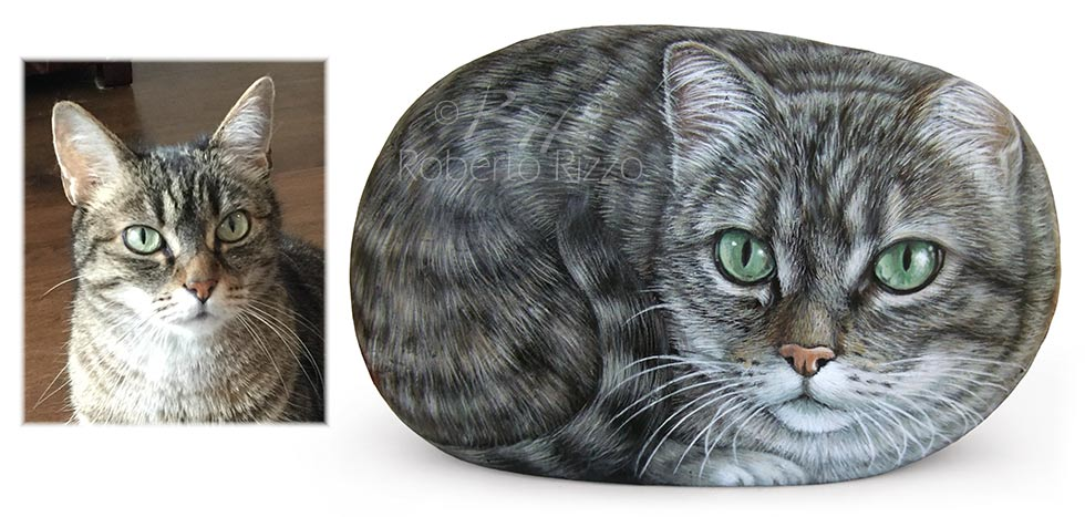 Hand painted cats on rocks by Rizzo