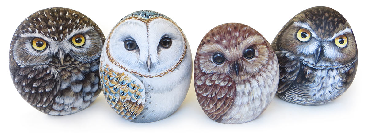 Hand painted stones owls