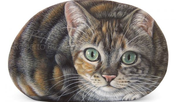 Cat Painting On Commission On A Rock