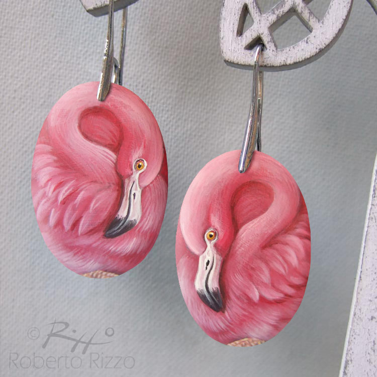 Flamingo hand painted earrings