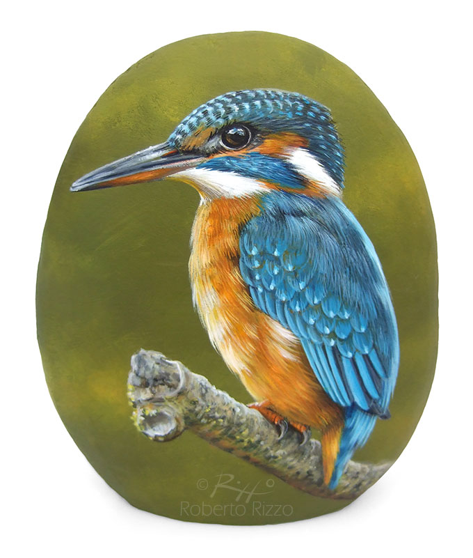 Rock Painted Kingfisher A Fantastic Piece Of Art To