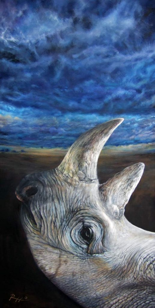 Rhino painting wildlife art by Rizzo