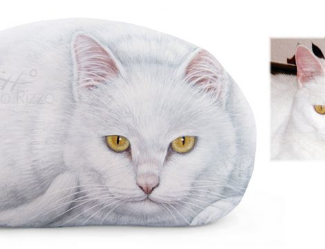 White Cat Portrait On Commission Painted On Rock