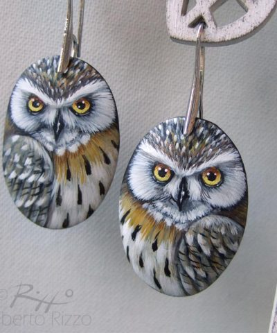 Pair Of Hand Painted Eagle Owl Earrings