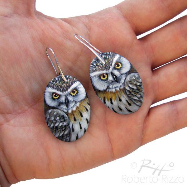 Pair of hand painted eagle owl earrings