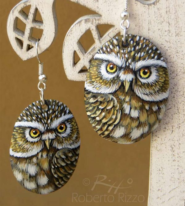 Hand painted little owl earrings