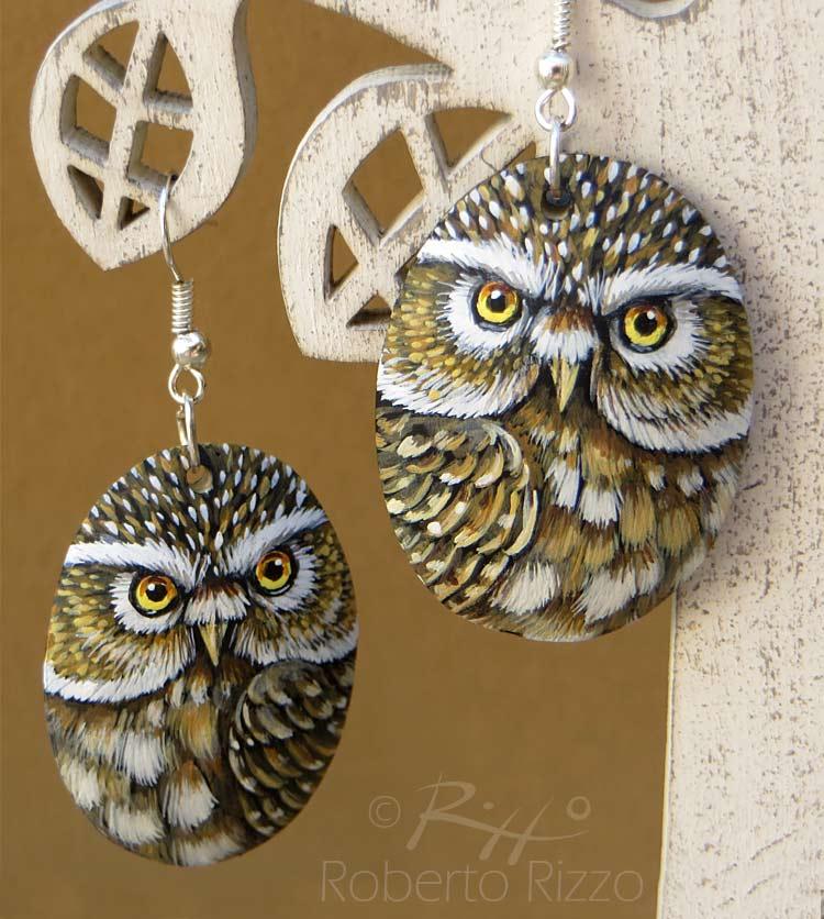 Hand painted little owl earrings