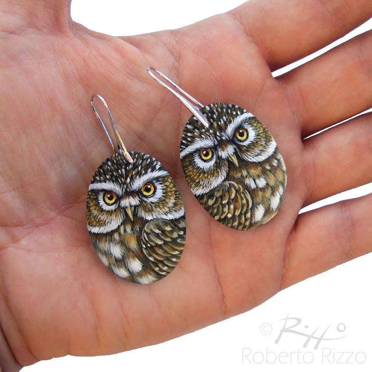Handmade little owl earrings