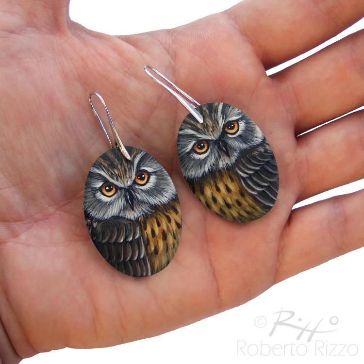 Handmade long-eared owl earrings