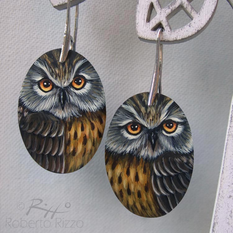 Handmade long-eared owl earrings