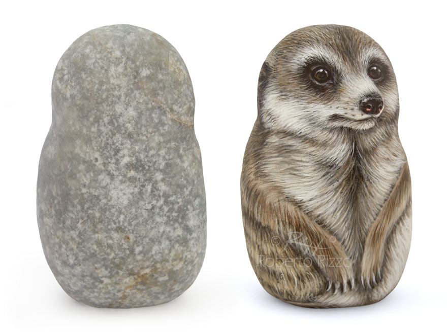 Painted meerkat on stone