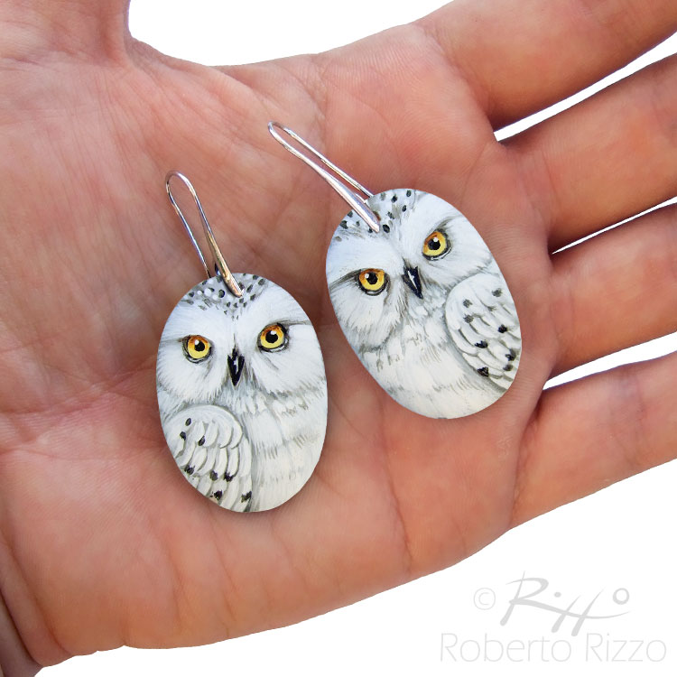 Pair of snowy owl earrings by Rizzo