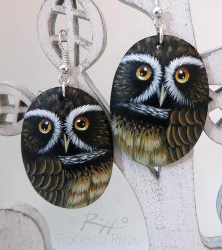 Pair Of Painted Spectacled Owl Earrings
