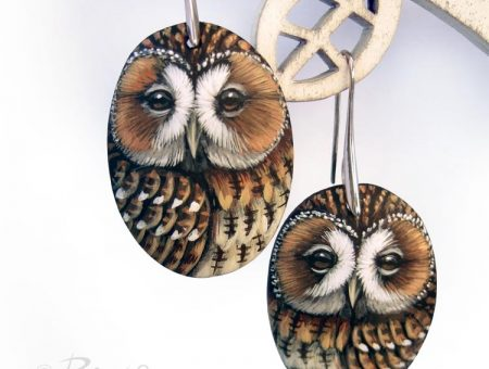 Pair Of Hand Painted Tawny Owl Earrings