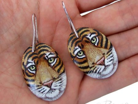 Hand Painted Tiger Earrings