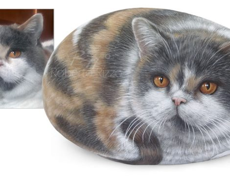 Hand Painted Rock Cat On Commission