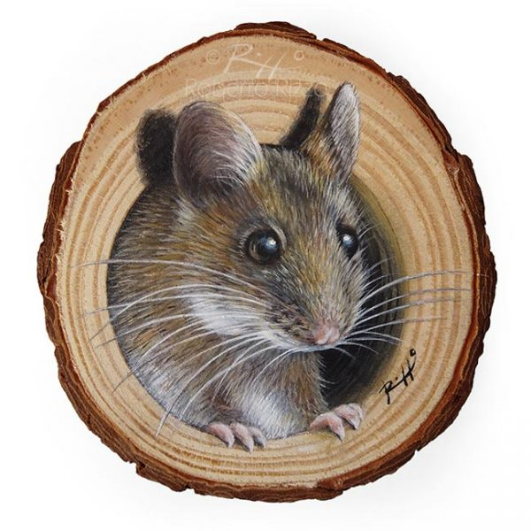 Wood slice painting with mouse