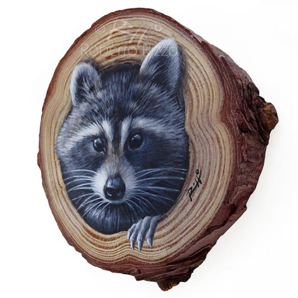 Wood slice painting with raccoon