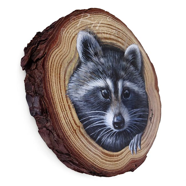 Raccoon S Lair A Unique Wood Slice Painting To Decorate