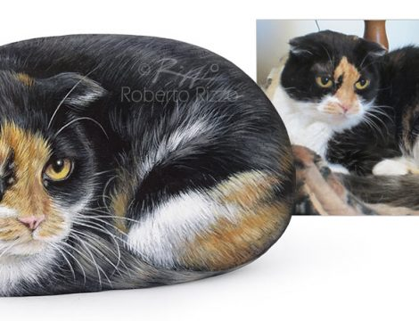 Commissioned Painted Rock Cat