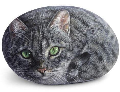 Hand Painted Cat On A Rock