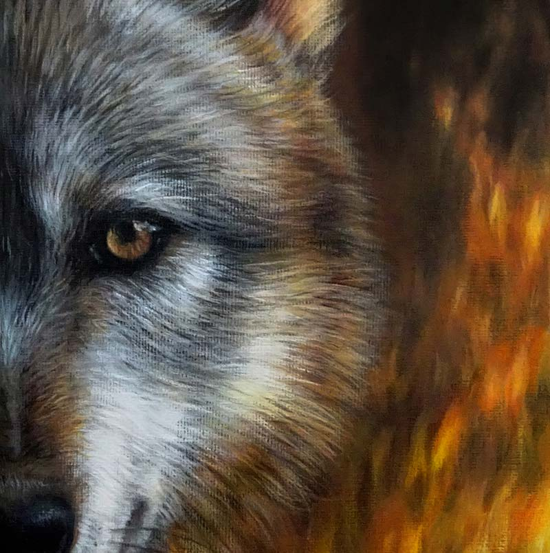 Wolf painting detail