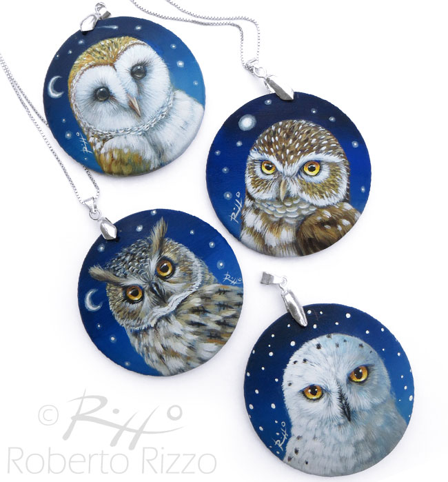 Barn owl pendants