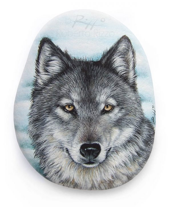 Wolf painting on stone