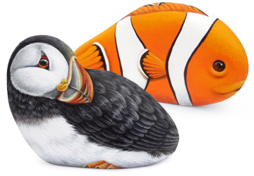 Puffin and clownfish hand painted on sea pebbles