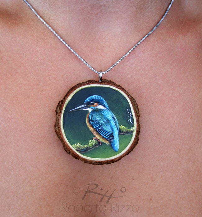Hand painted kingfisher necklace