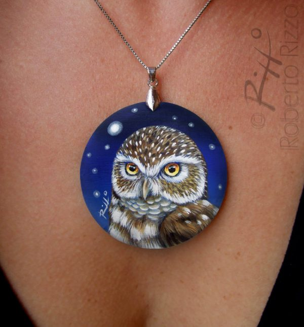 Painted little owl necklace