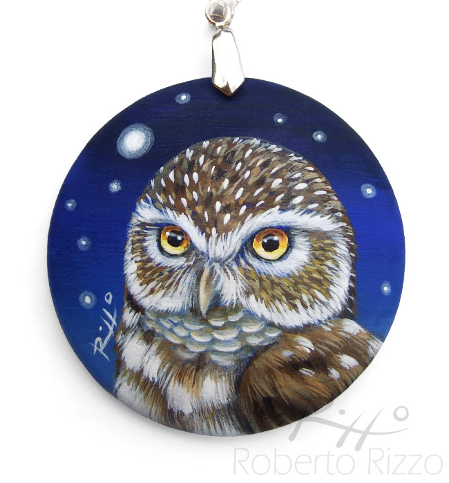 Hand painted little owl pendant