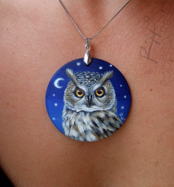 Long-eared owl painted necklace