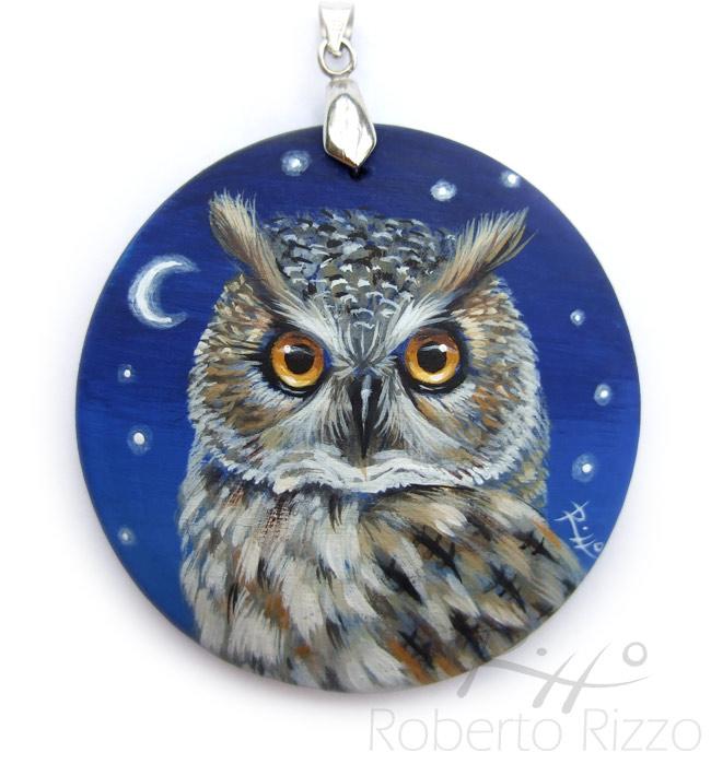 Long-eared owl pendant