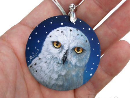Snowy Owl Hand Painted Pendant