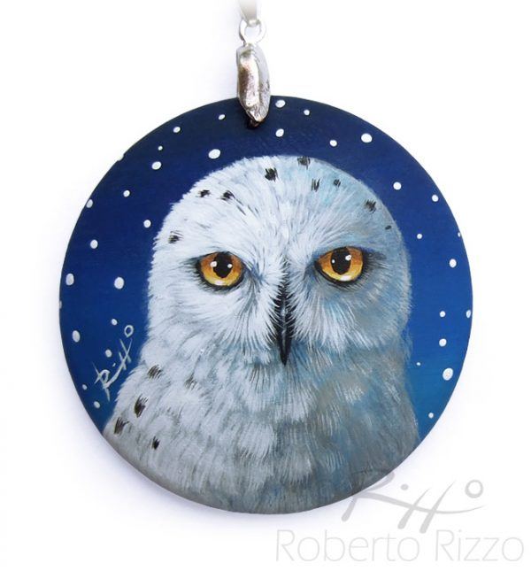 Painted owl necklace