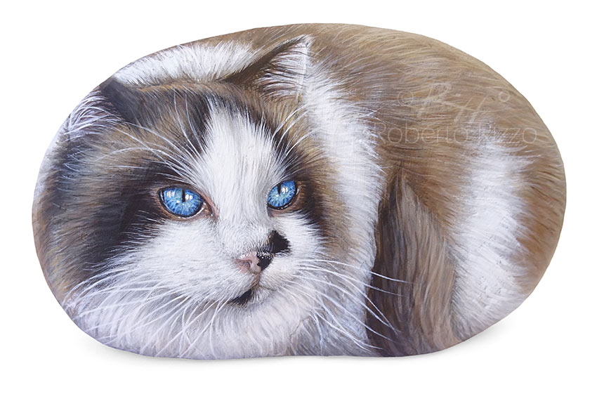 Painted rock with a cat