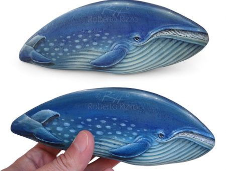 Rock Painted Blue Whale
