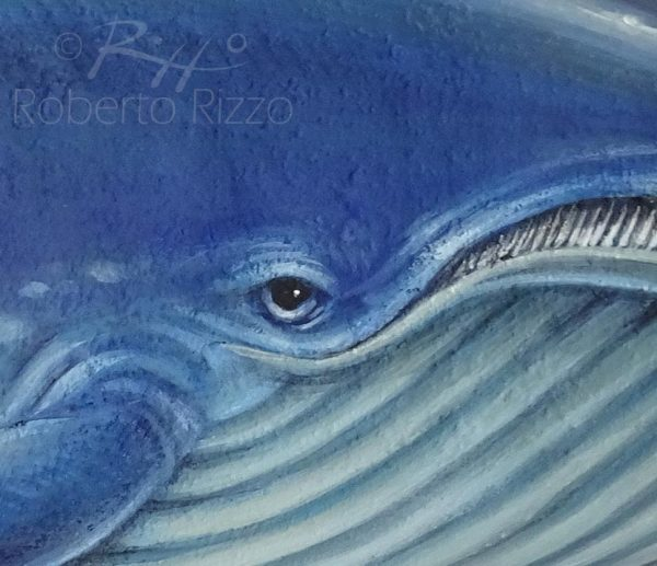 Whale painted on stone