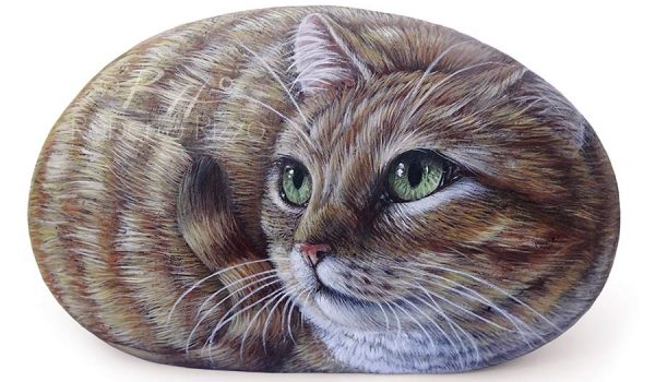 Ginger Cat Portrayed On A Rock