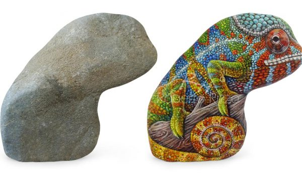 Chameleon Painted On Stone