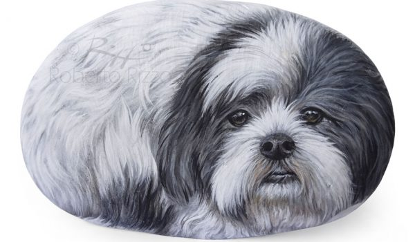 Dog Painting On Stone